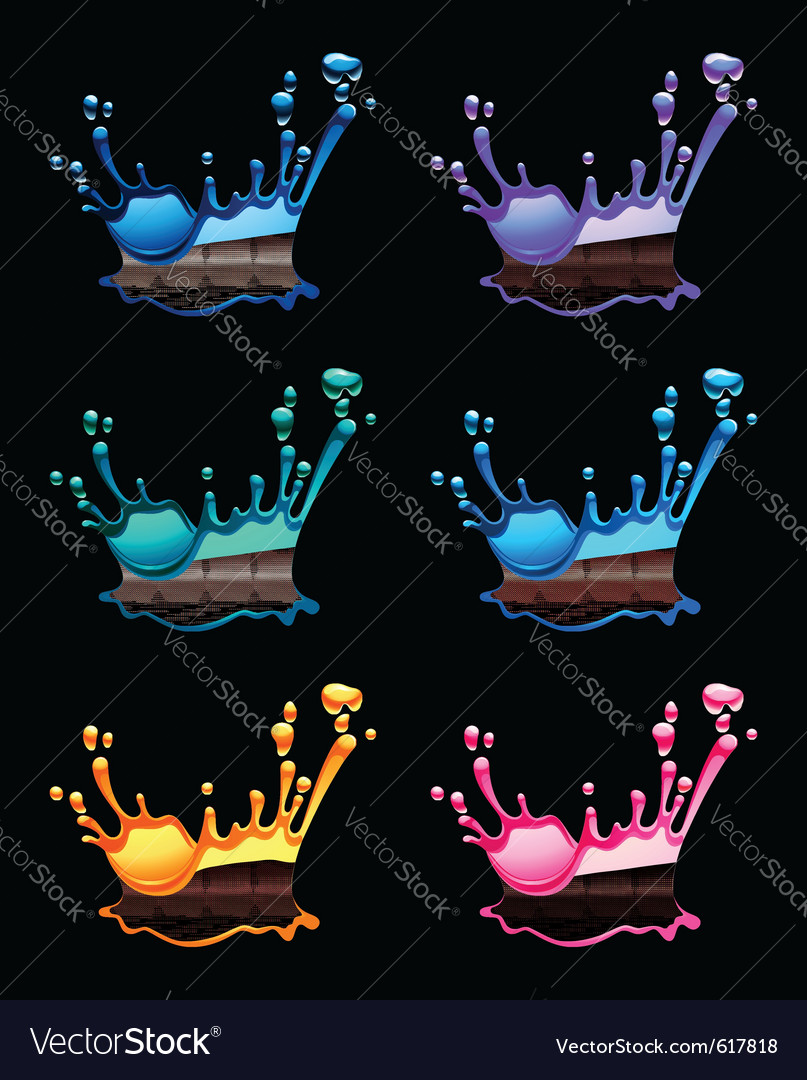 Set of splashing water drops black background vector | Price: 1 Credit (USD $1)