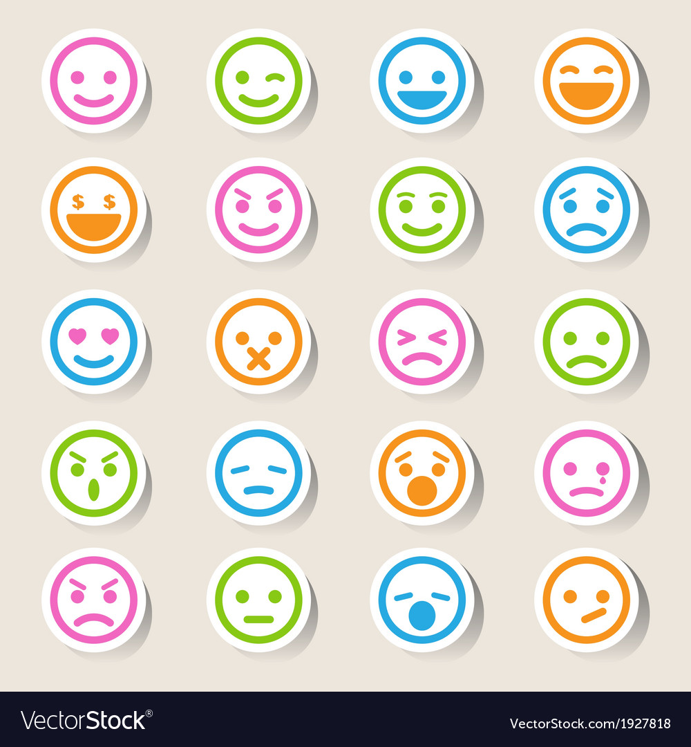 Smiley faces icons set vector | Price: 1 Credit (USD $1)