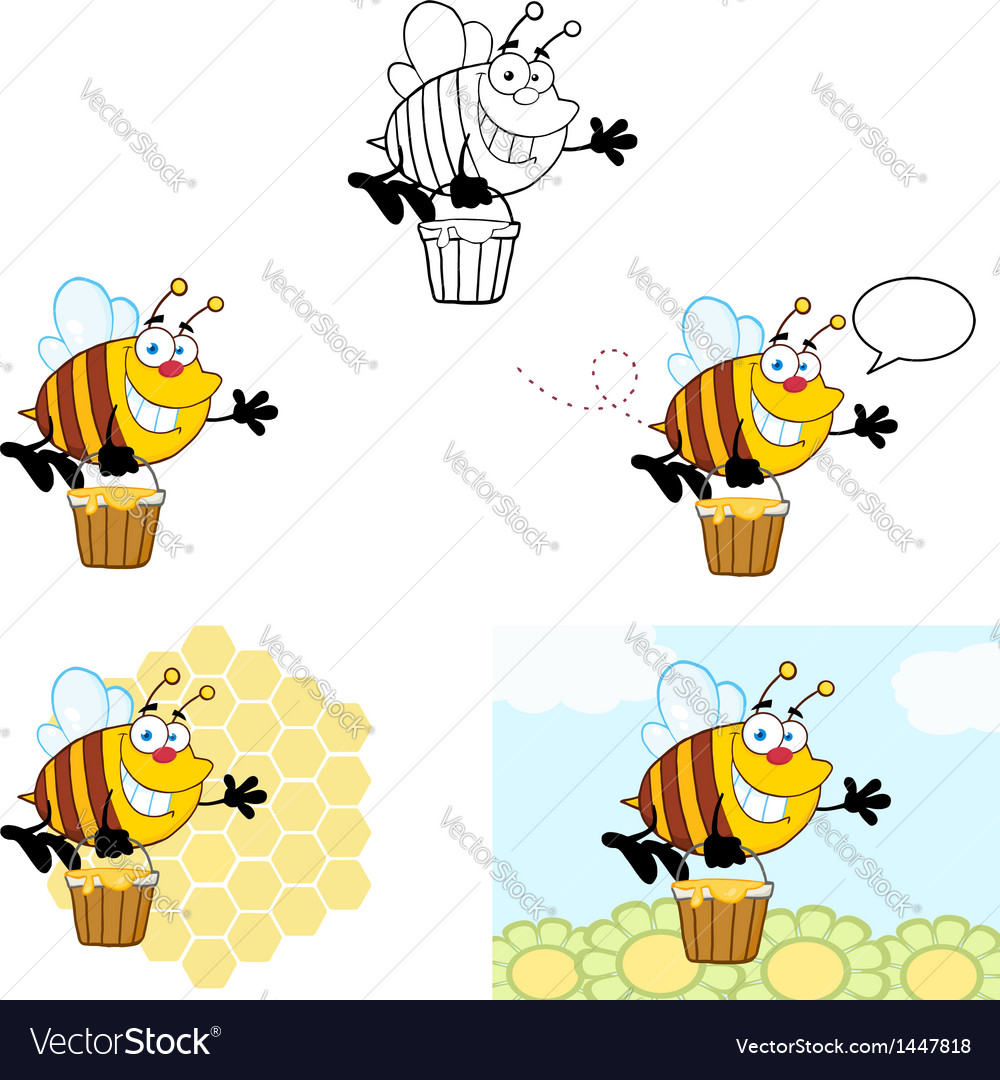 Smiling bee flying collection vector | Price: 3 Credit (USD $3)