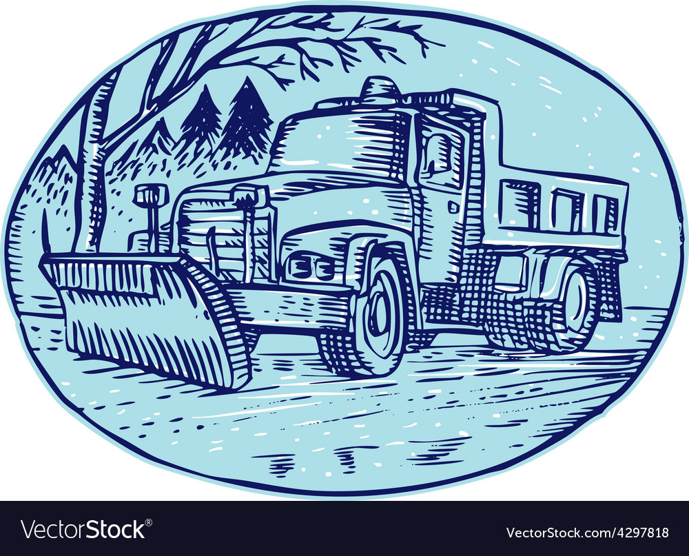 Snow plow truck oval etching vector | Price: 1 Credit (USD $1)