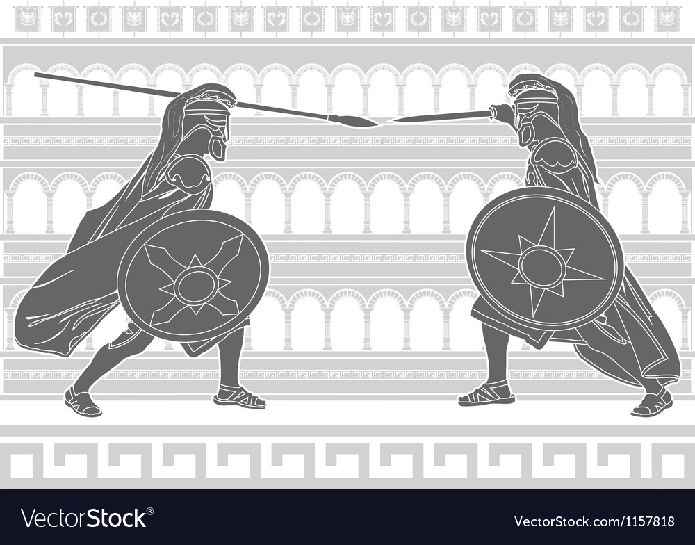 Two gladiators stencil vector | Price: 1 Credit (USD $1)