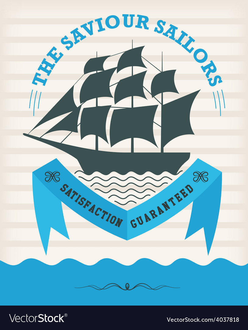 Vintage nautical emblem with sailing ship vector | Price: 1 Credit (USD $1)