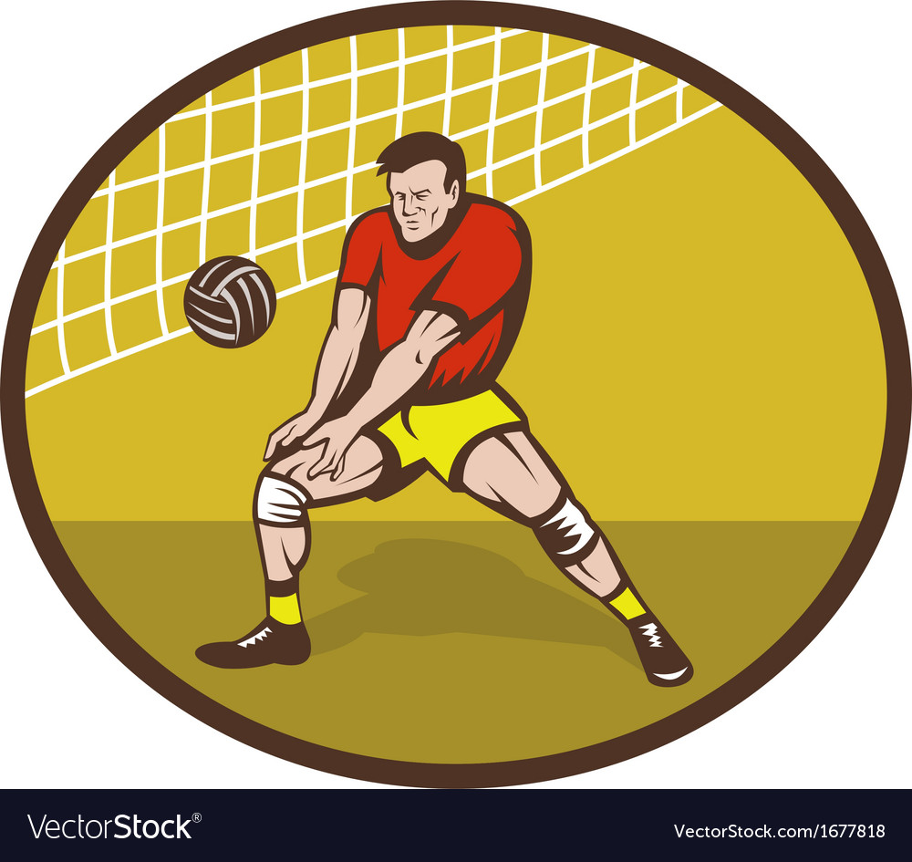 Volleyball player about to strike ball vector | Price: 1 Credit (USD $1)