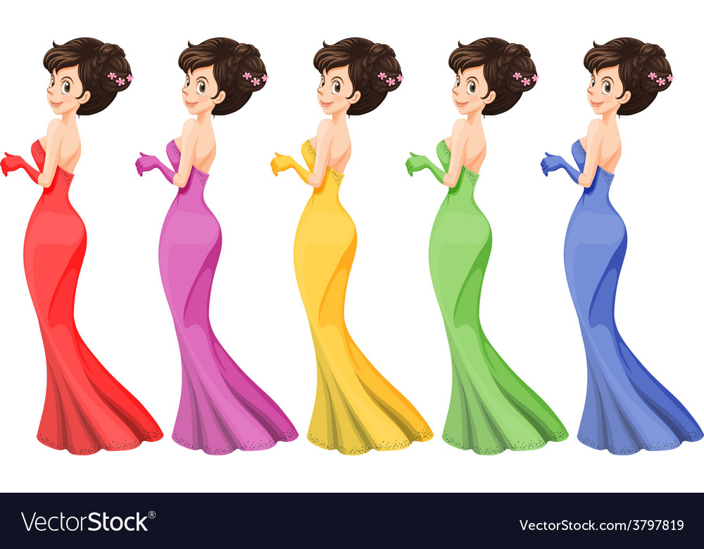 A lady in different gowns vector   Price: 1 Credit (USD $1)