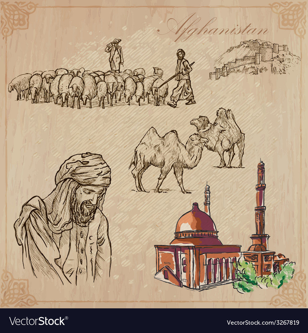 Afghanistan hand drawn pack no3 vector | Price: 1 Credit (USD $1)