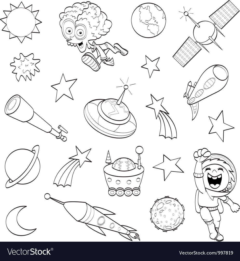 Cartoon outer space set vector | Price: 1 Credit (USD $1)