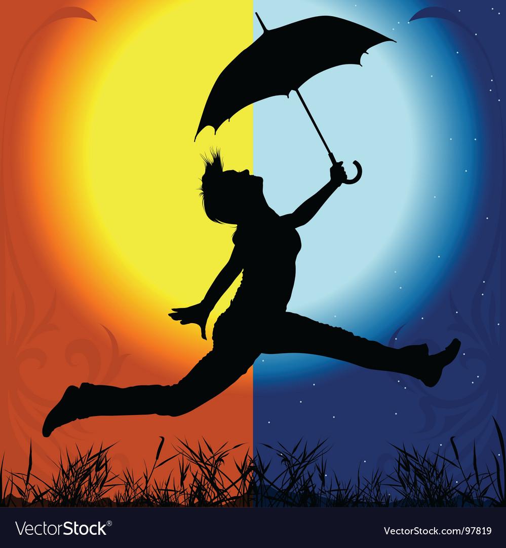 Girl and umbrella vector | Price: 1 Credit (USD $1)