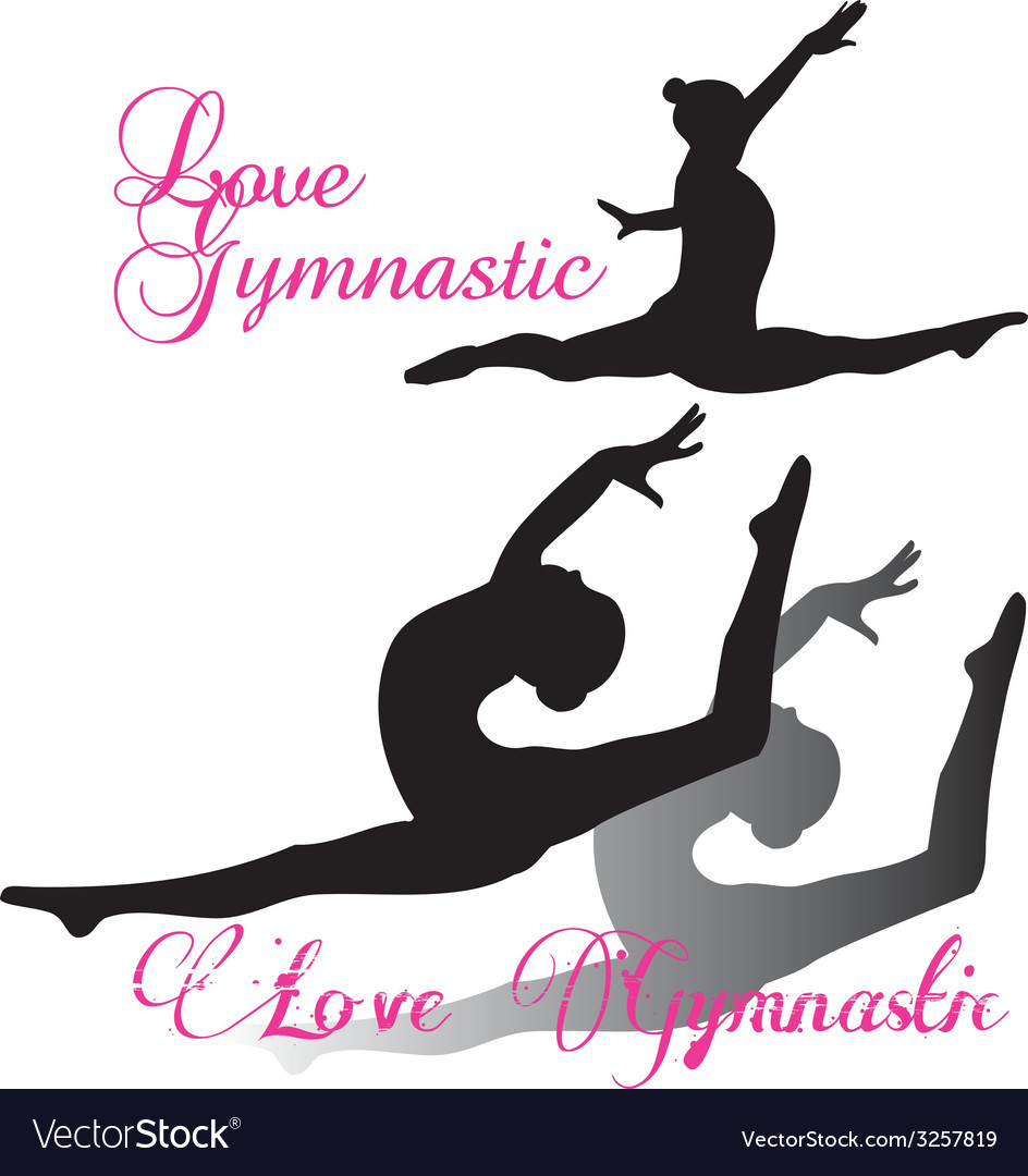 Gymnastic gymnast silhouettes set vector | Price: 1 Credit (USD $1)
