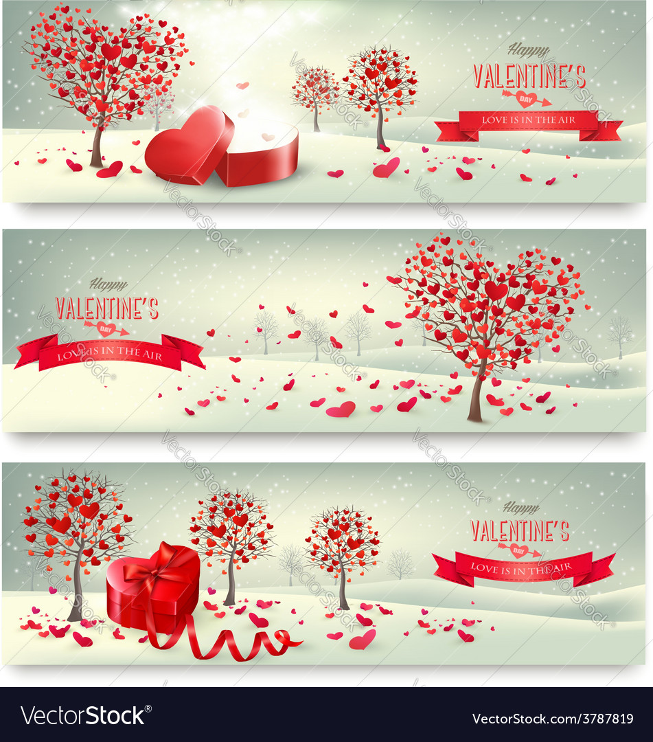 Holiday retro banners valentine trees with vector | Price: 3 Credit (USD $3)