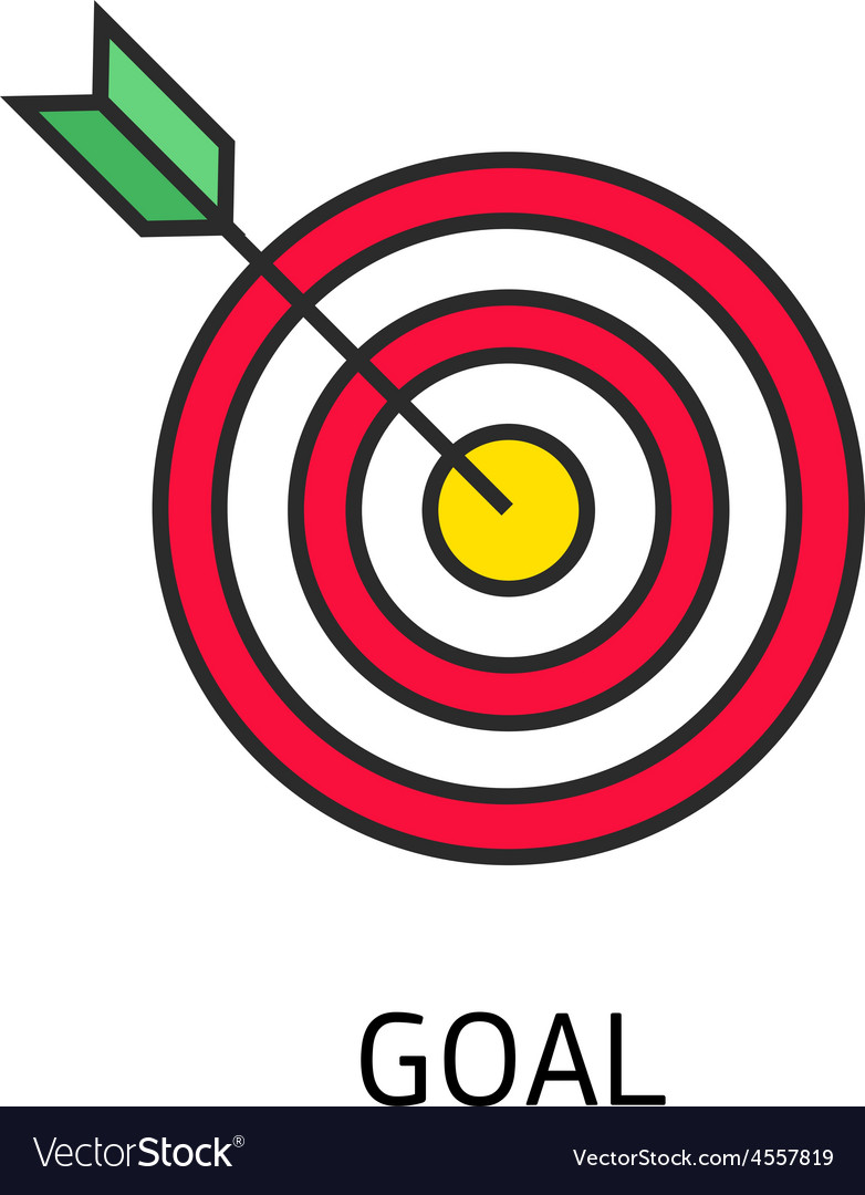 Icon flat target with dart isolated goal vector | Price: 1 Credit (USD $1)