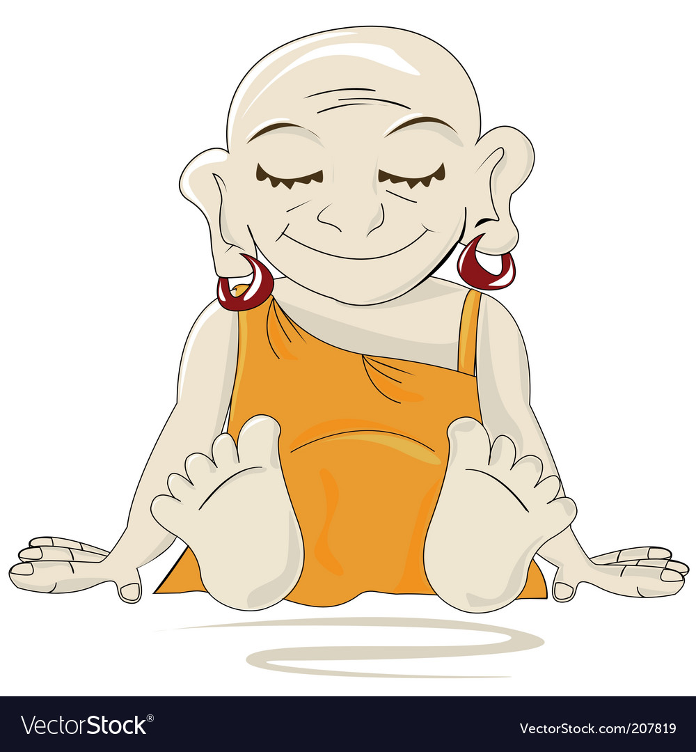 Little buddha cartoon vector | Price: 1 Credit (USD $1)