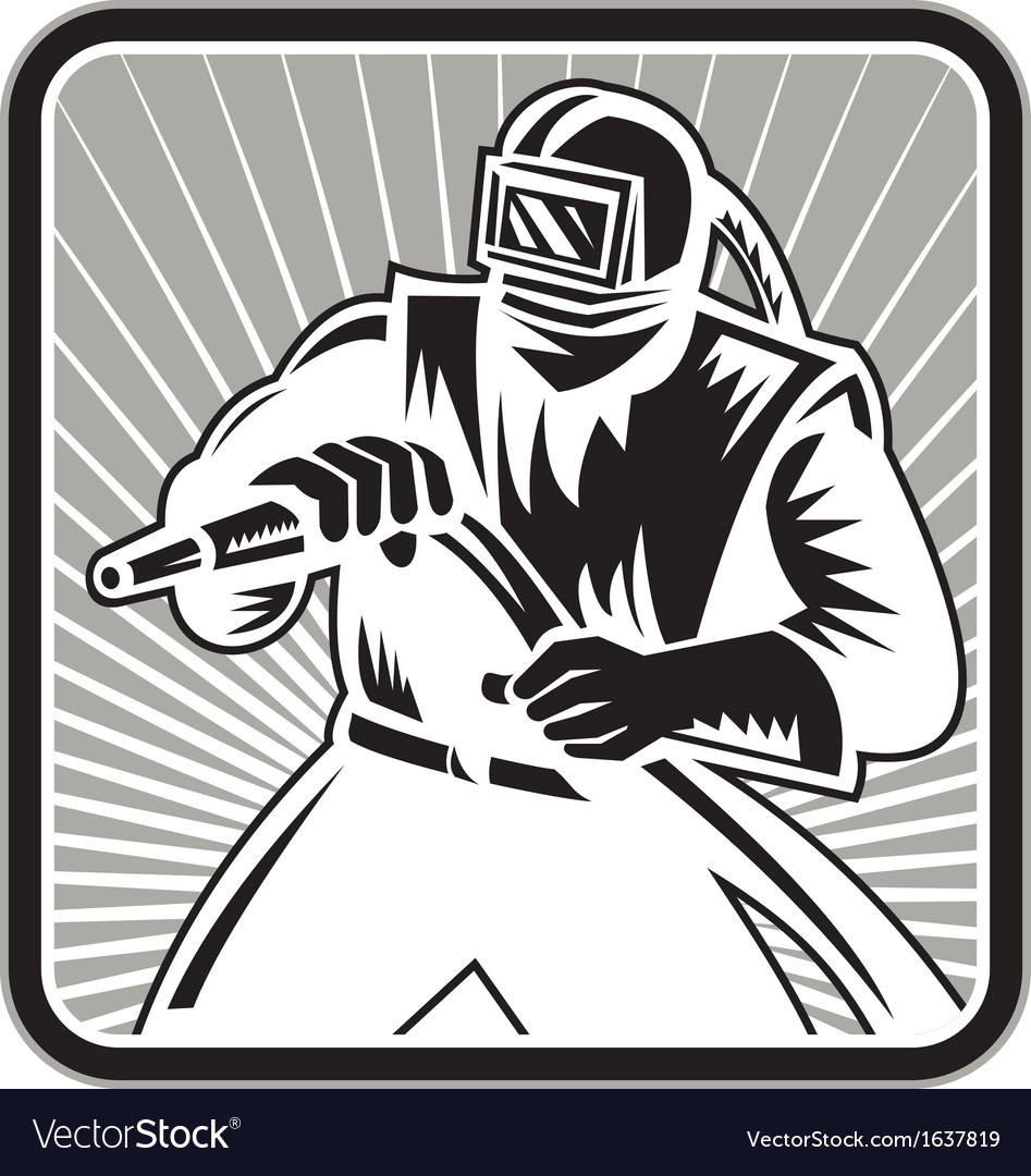 Sandblaster sand blaster woodcut retro vector | Price: 1 Credit (USD $1)