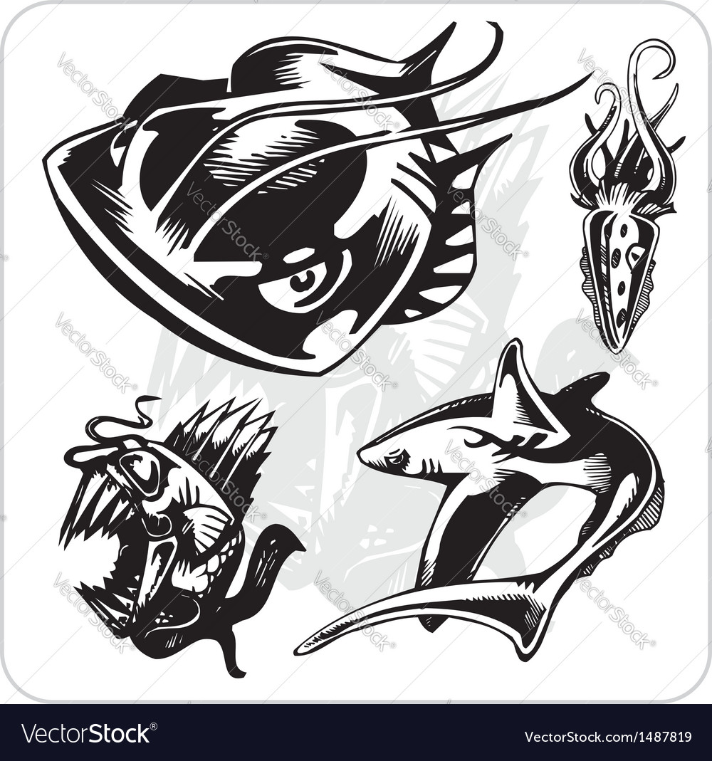 Set - aggressive marine life vector | Price: 1 Credit (USD $1)