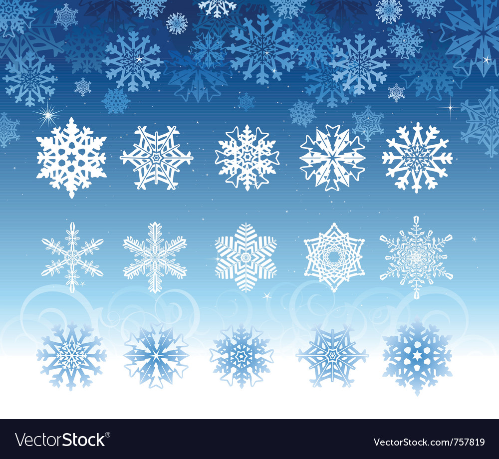 Snowflakes collection set vector | Price: 1 Credit (USD $1)
