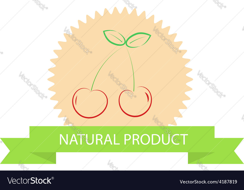Sticker with cherries natural products vector | Price: 1 Credit (USD $1)