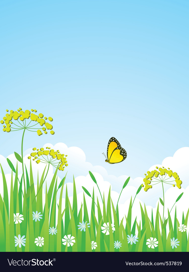 Summer meadow with flowers and vector | Price: 1 Credit (USD $1)