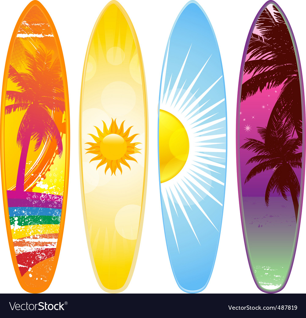 Tropical surfboard vector | Price: 1 Credit (USD $1)