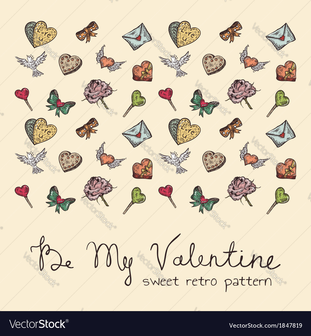 Valentine vintage pattern vector | Price: 1 Credit (USD $1)