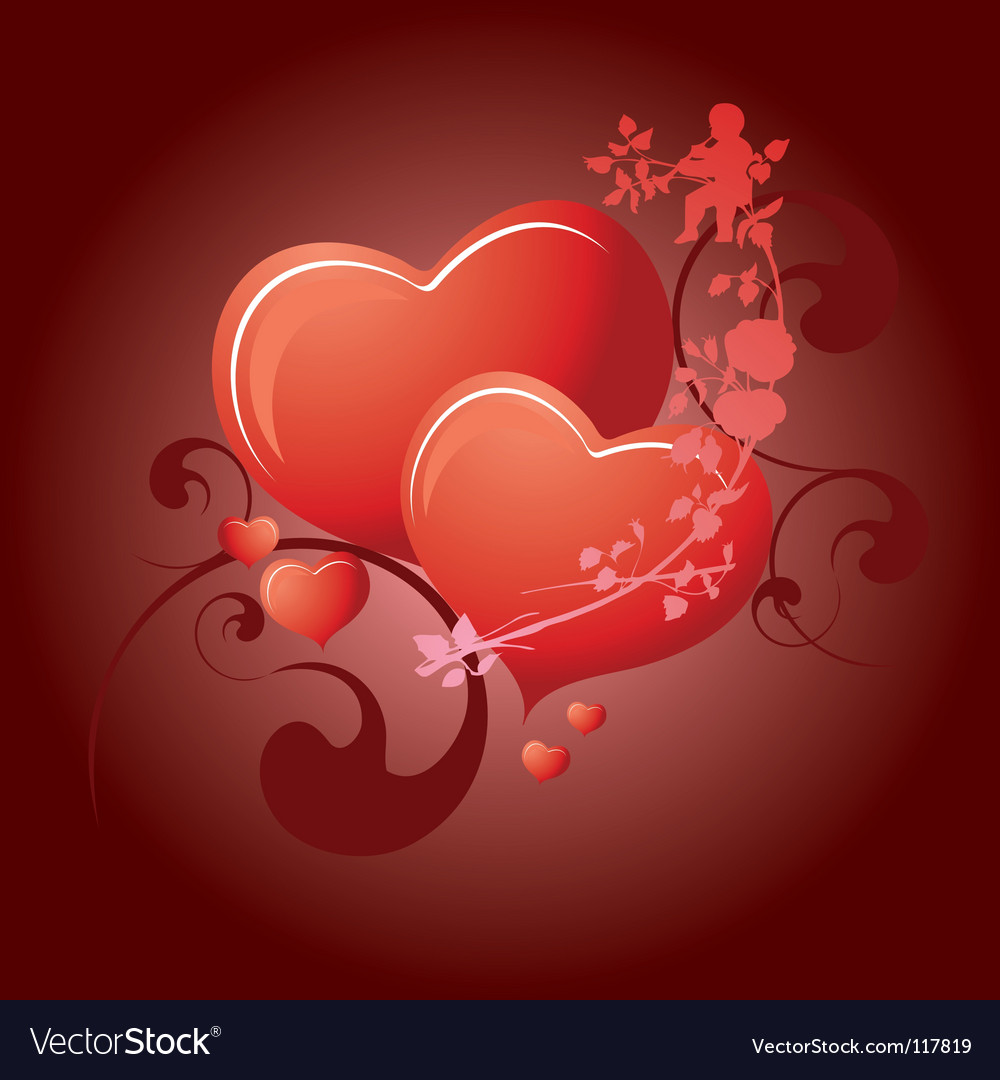 Valentines day 2 hearts vector | Price: 1 Credit (USD $1)