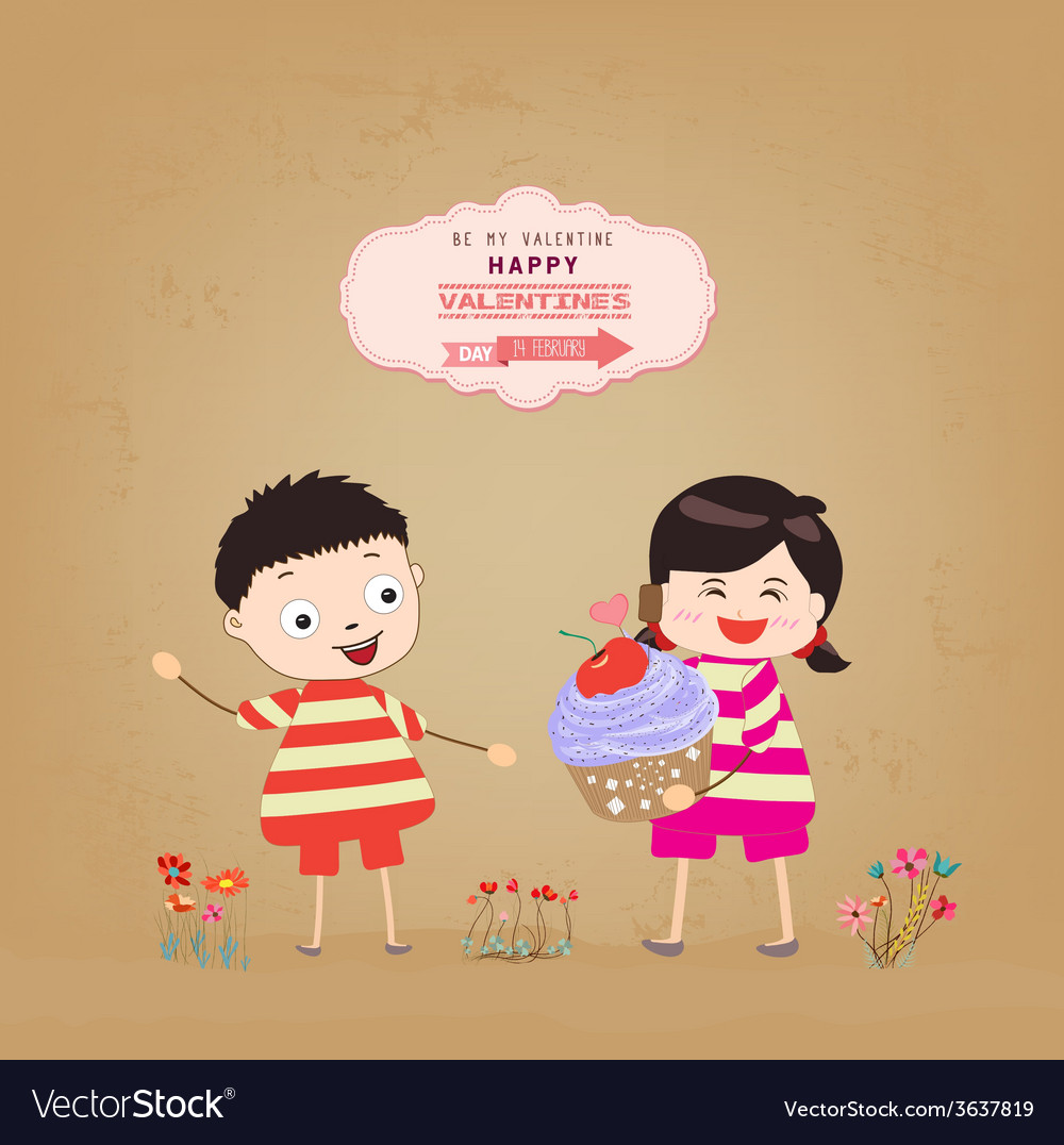 Valentines day with my baby and cupcake gift vector