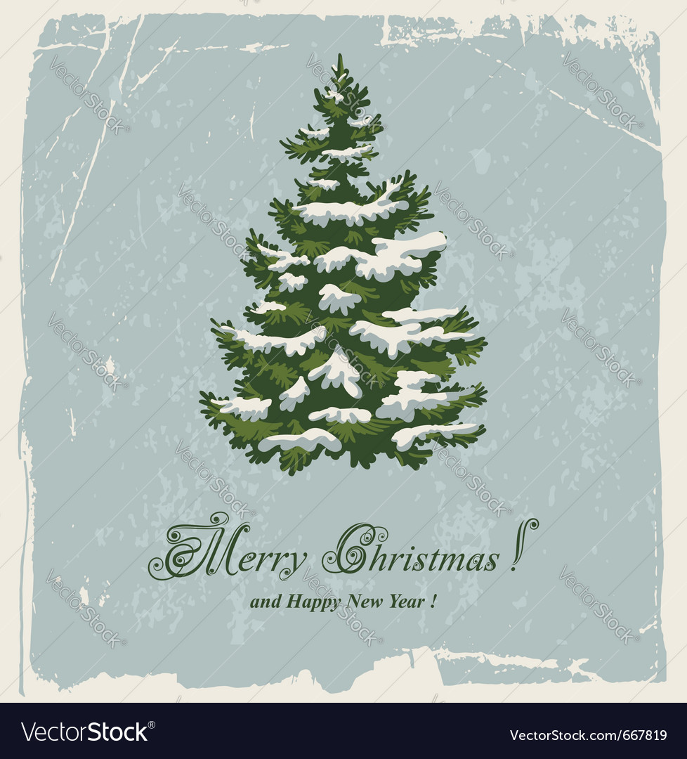 Vintage christmas card with spruce in the snow vector | Price: 3 Credit (USD $3)