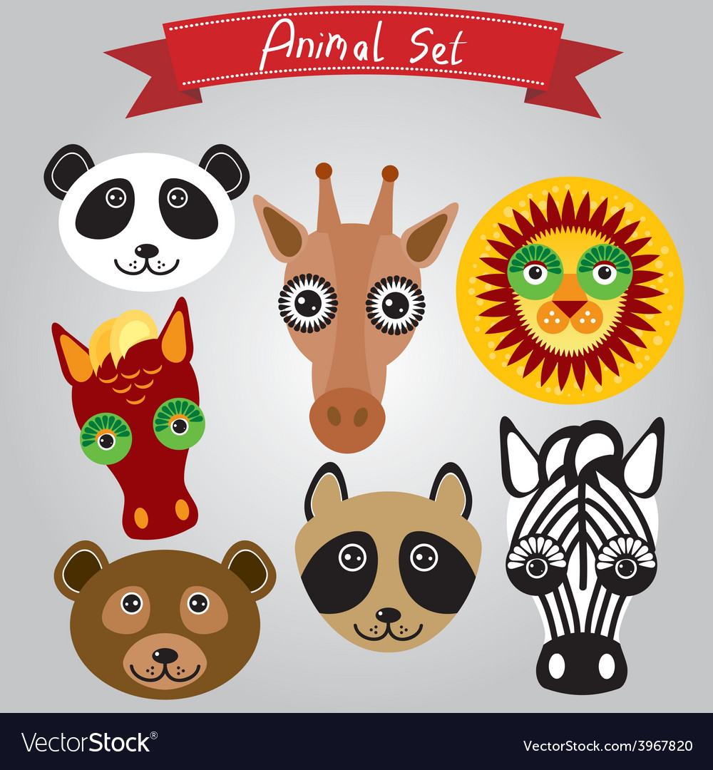 Animal set panda giraffe lion horse bear raccoon vector | Price: 1 Credit (USD $1)
