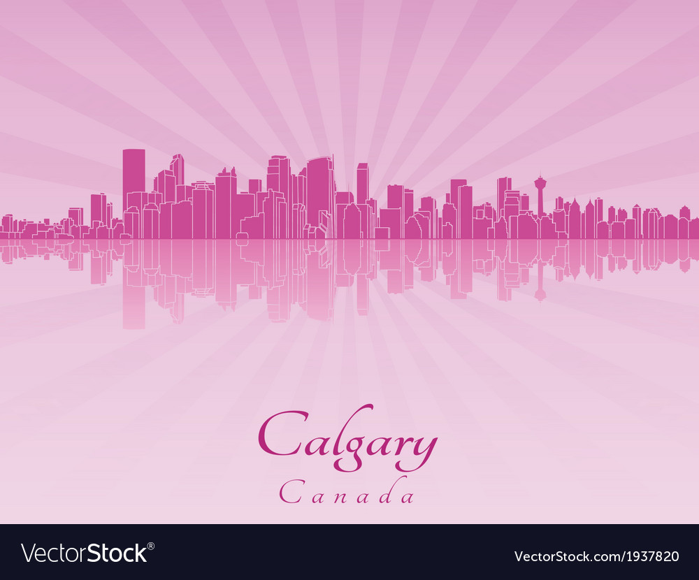 Calgary skyline in purple radiant orchid vector | Price: 1 Credit (USD $1)