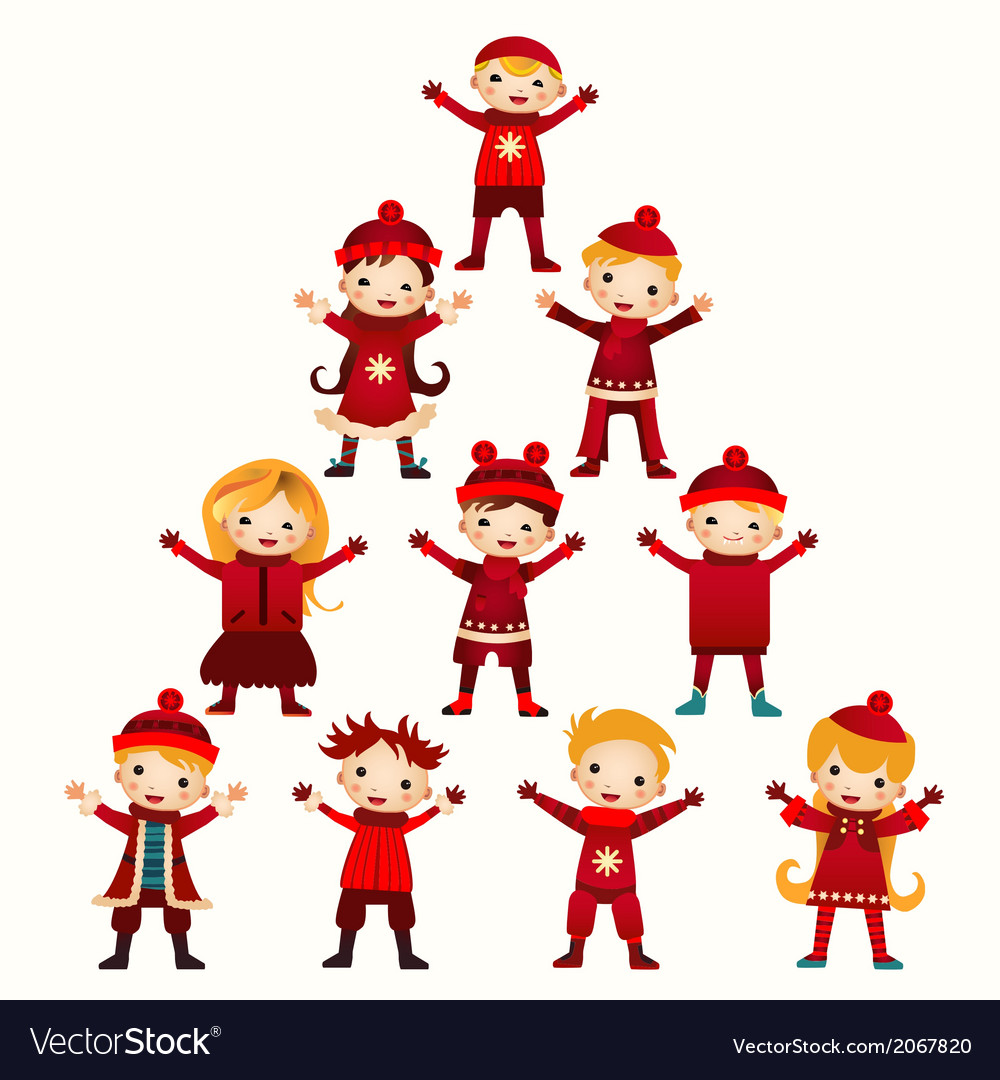 Christmas kids tree isolated on white vector | Price: 1 Credit (USD $1)