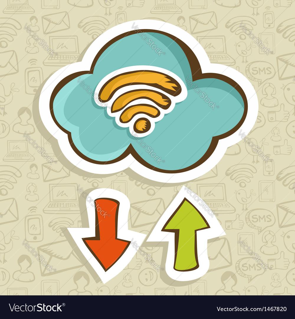 Cloud computing cartoon concept vector | Price: 1 Credit (USD $1)