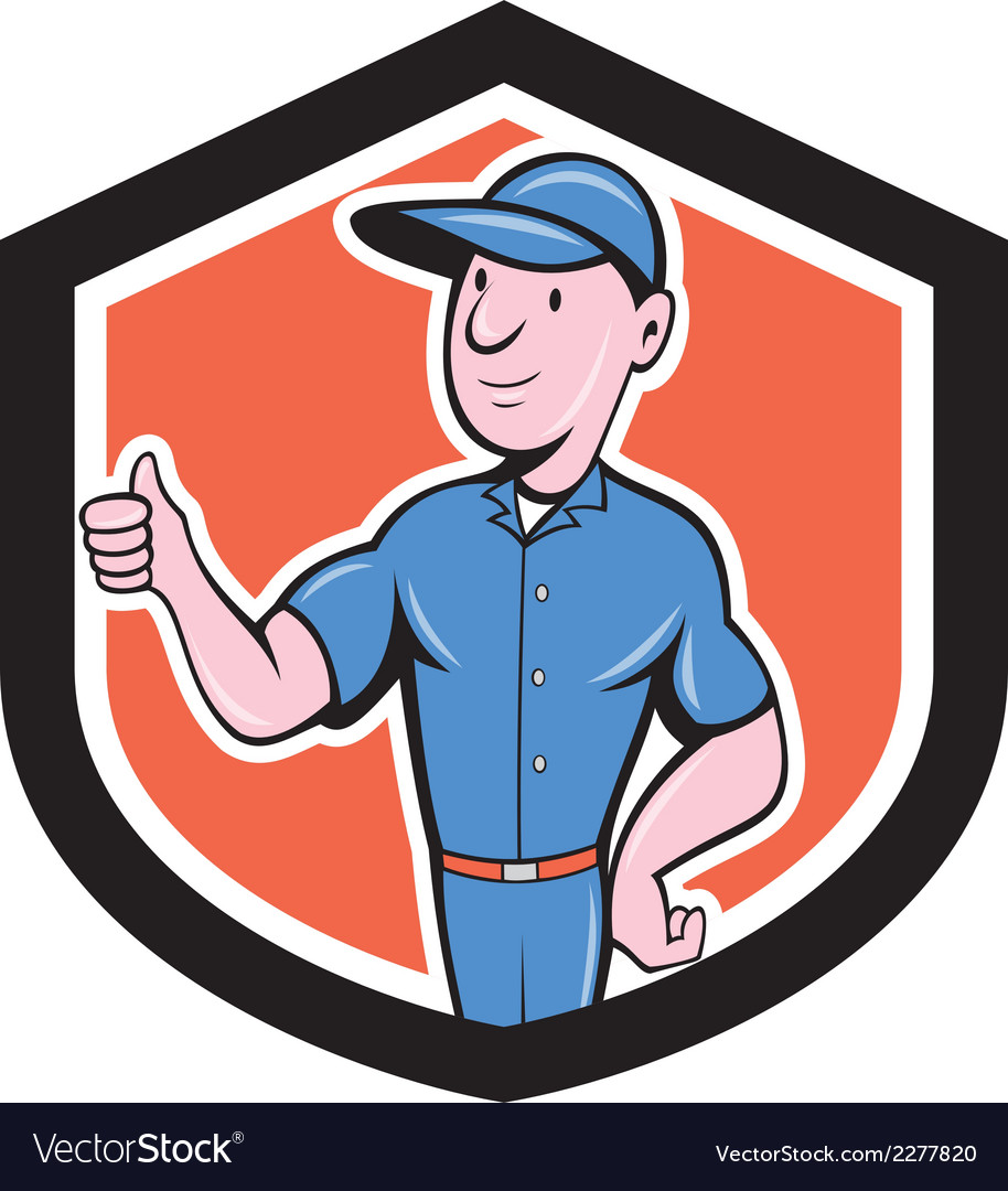 Handyman repairman thumbs up cartoon vector | Price: 1 Credit (USD $1)
