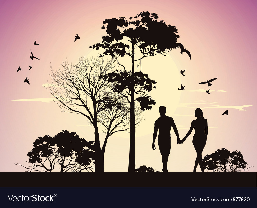 Husband and wife holding hands and walking in the vector | Price: 3 Credit (USD $3)