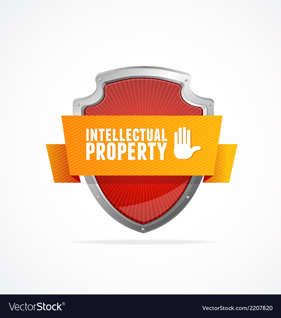 Intellectual property protect shield on white vector | Price: 1 Credit (USD $1)