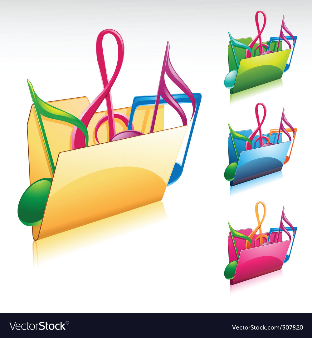 Music folder icon vector | Price: 1 Credit (USD $1)