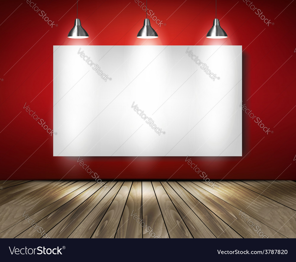 Red room with spotlights and wooden floor vector | Price: 3 Credit (USD $3)