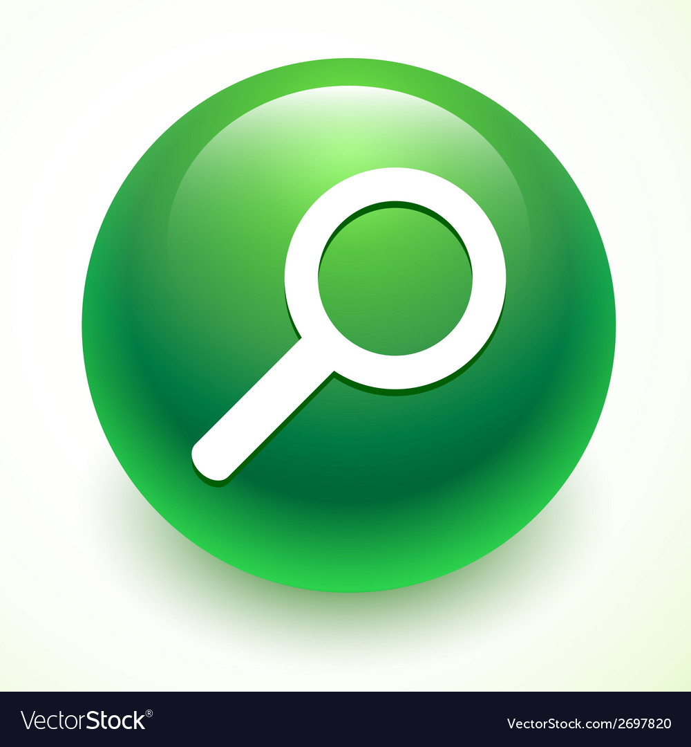 Search icon on the green ball vector | Price: 1 Credit (USD $1)