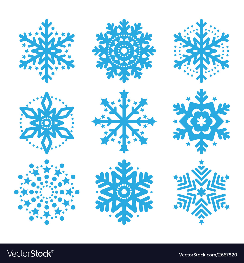 Snowflakes winter blue icons set vector | Price: 1 Credit (USD $1)