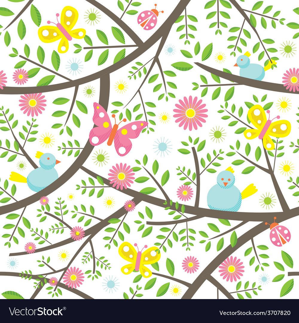 Spring season seamless pattern vector | Price: 1 Credit (USD $1)
