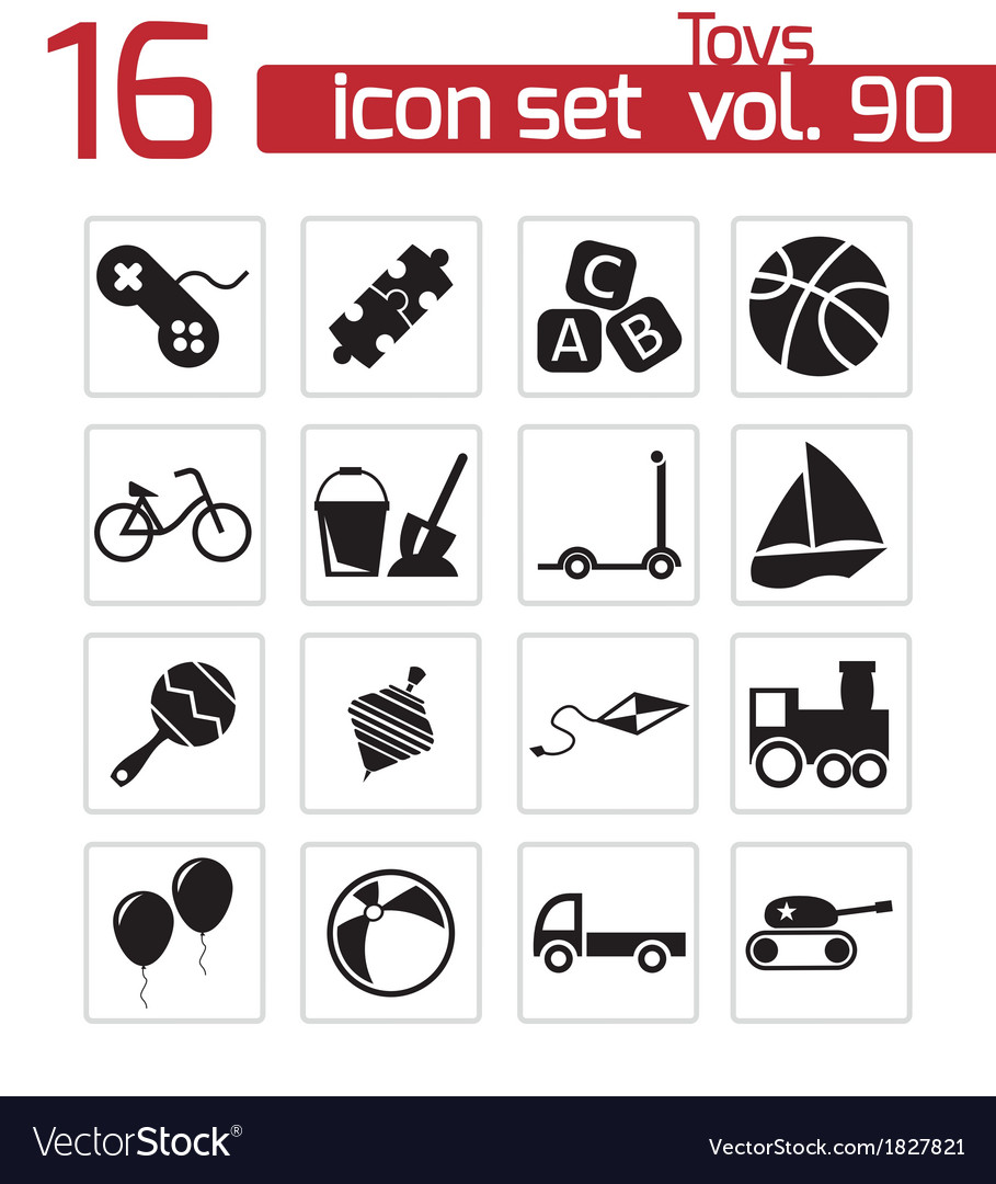 Black toys icons set vector | Price: 1 Credit (USD $1)