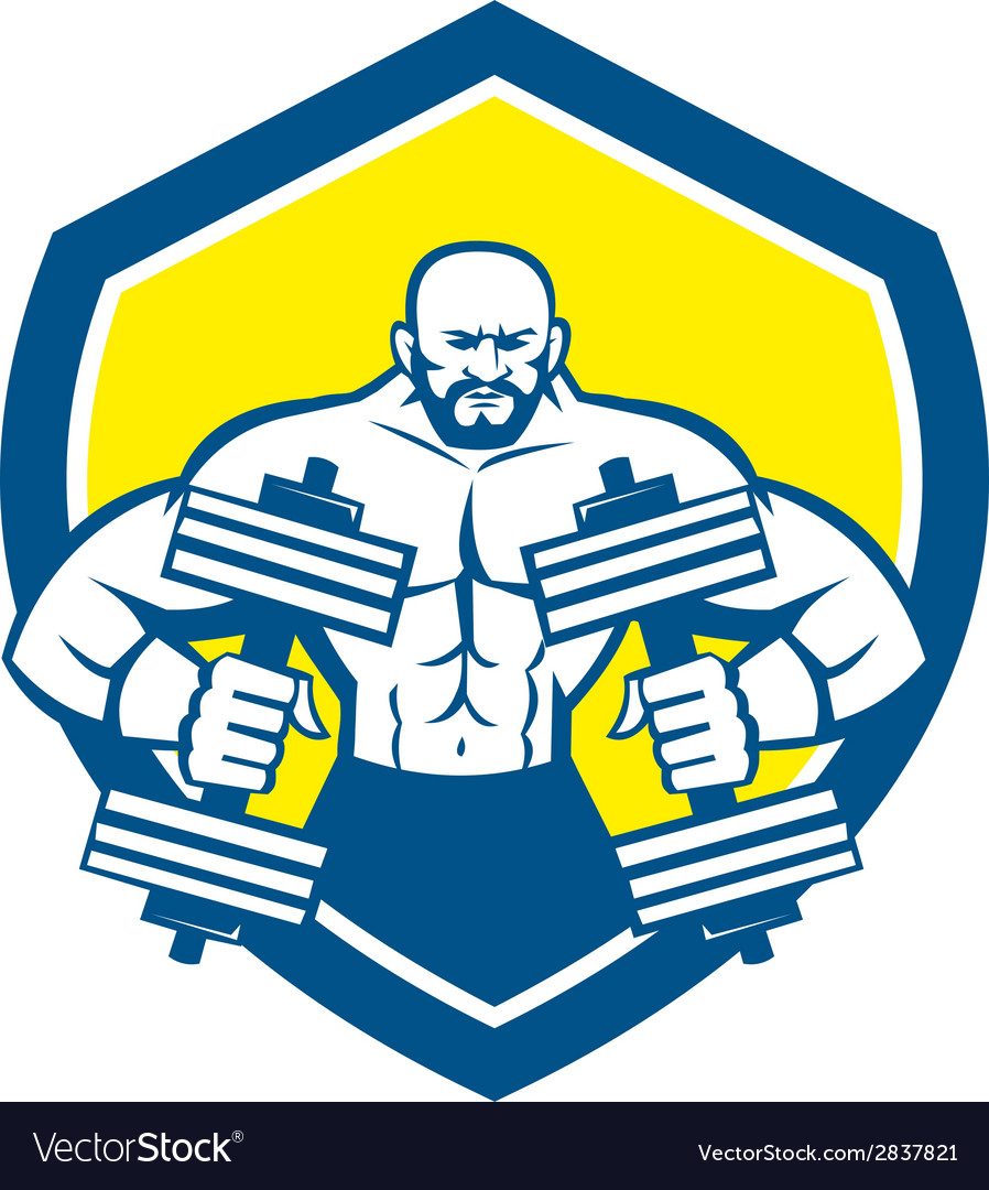 Bodybuilder lifting dumbbell shield retro vector | Price: 1 Credit (USD $1)