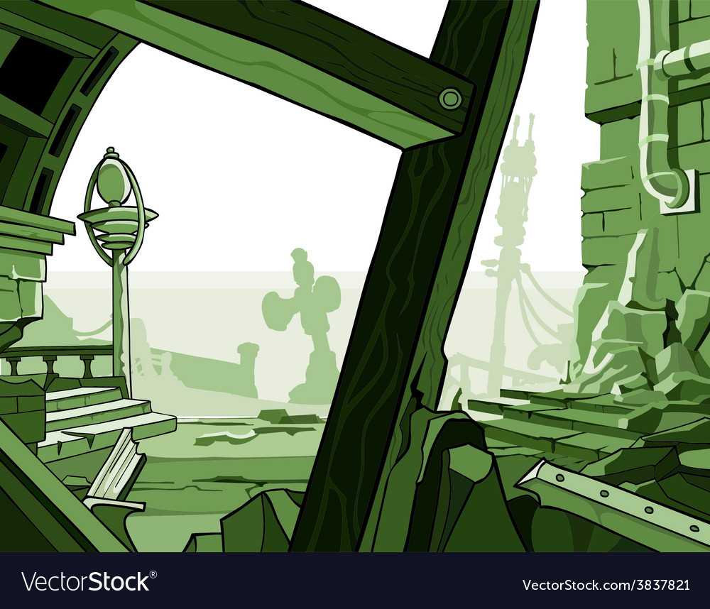 Cartoon ruins of houses vector | Price: 3 Credit (USD $3)