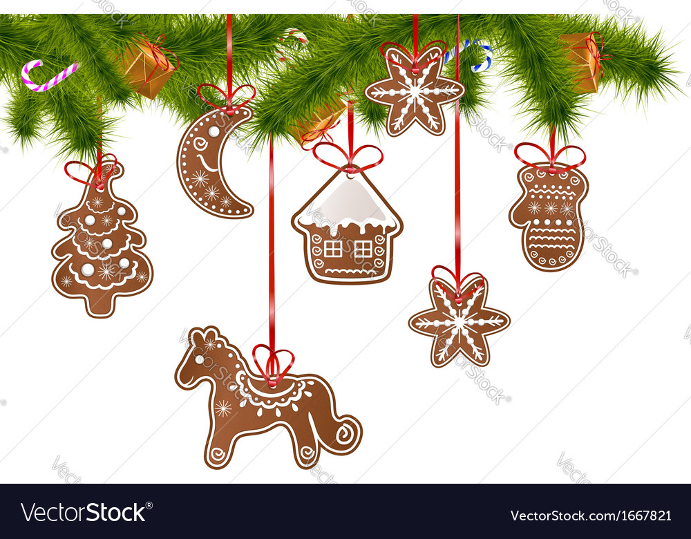 Christmas gingerbreads on a christmas tree vector | Price: 1 Credit (USD $1)