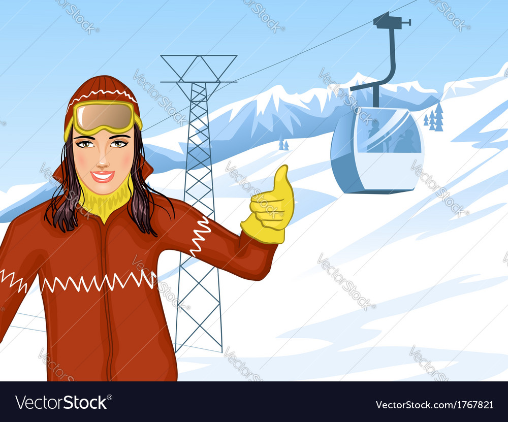 Girl on the background with cable-way vector | Price: 1 Credit (USD $1)