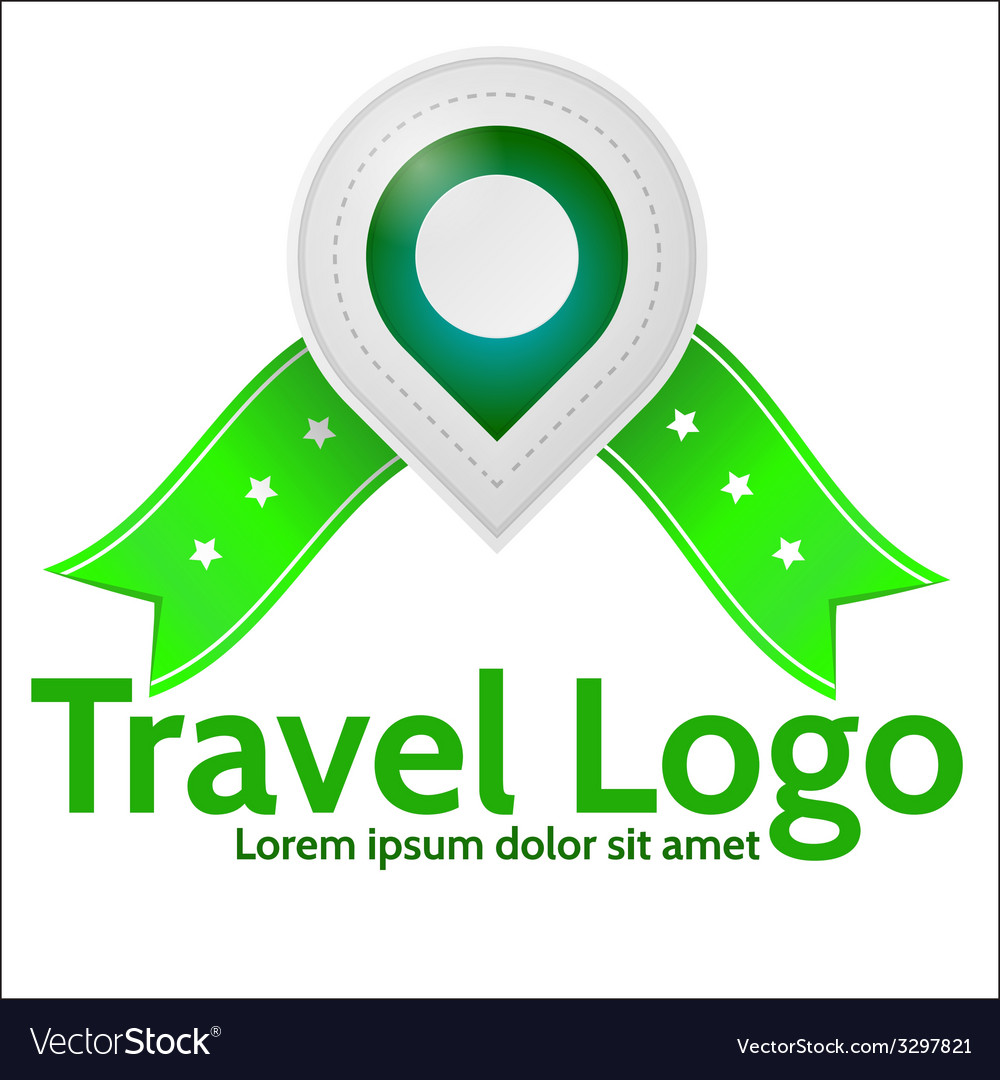 Green geolocation marker emblem for travel vector | Price: 1 Credit (USD $1)