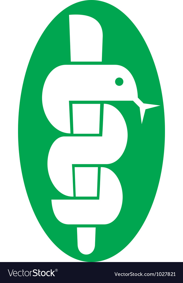 Medical symbol caduceus snake with stick vector | Price: 1 Credit (USD $1)