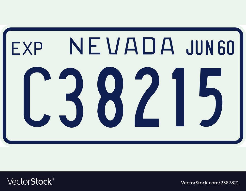 Nevada 1960 license plate vector | Price: 1 Credit (USD $1)