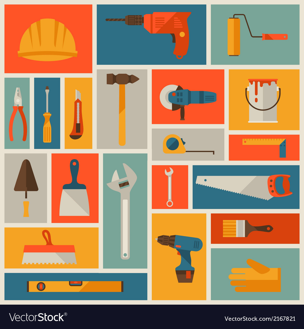 Repair and construction working tools icon set vector | Price: 1 Credit (USD $1)