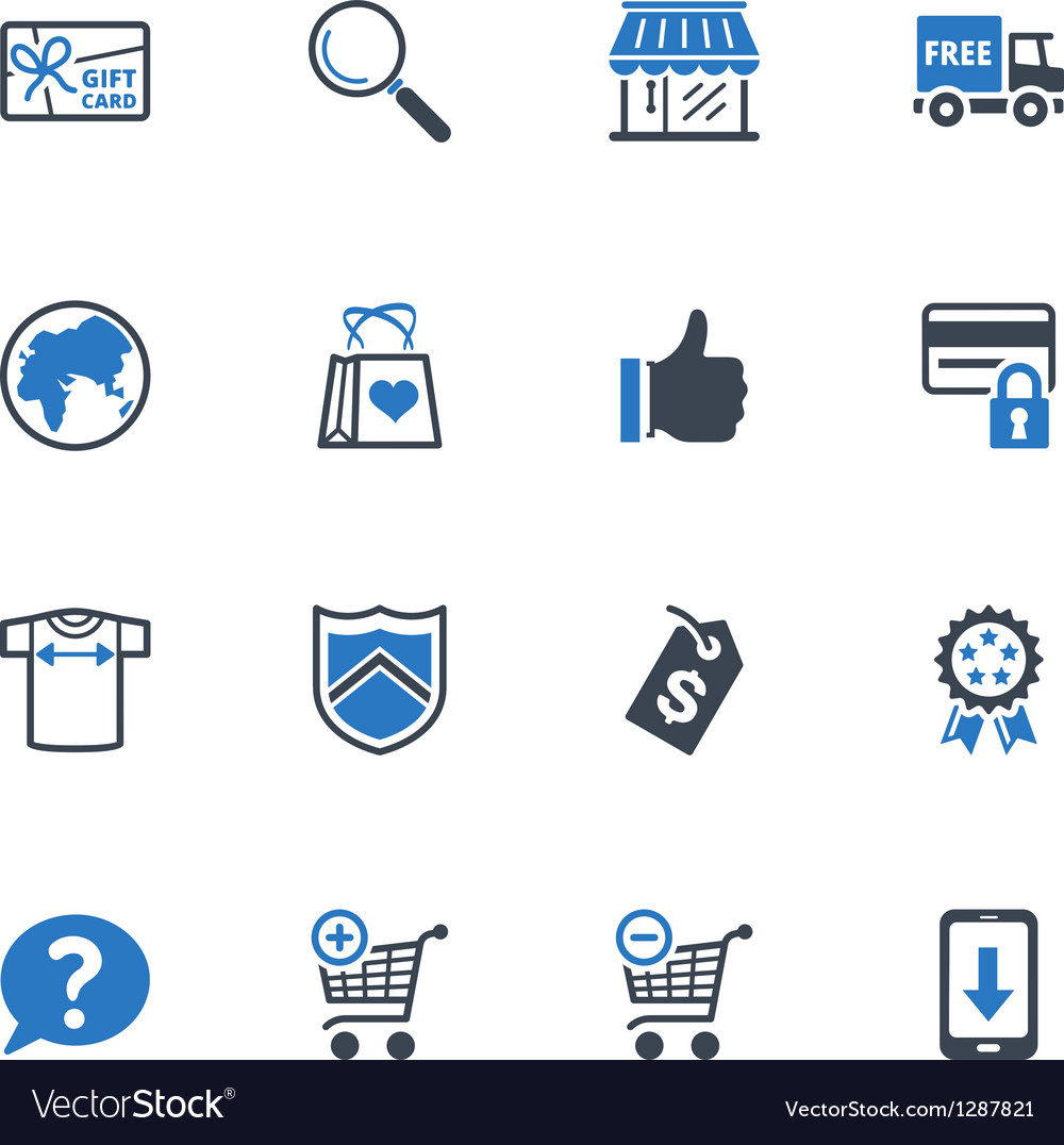 Shopping and ecommerce icons set 2  blue series vector