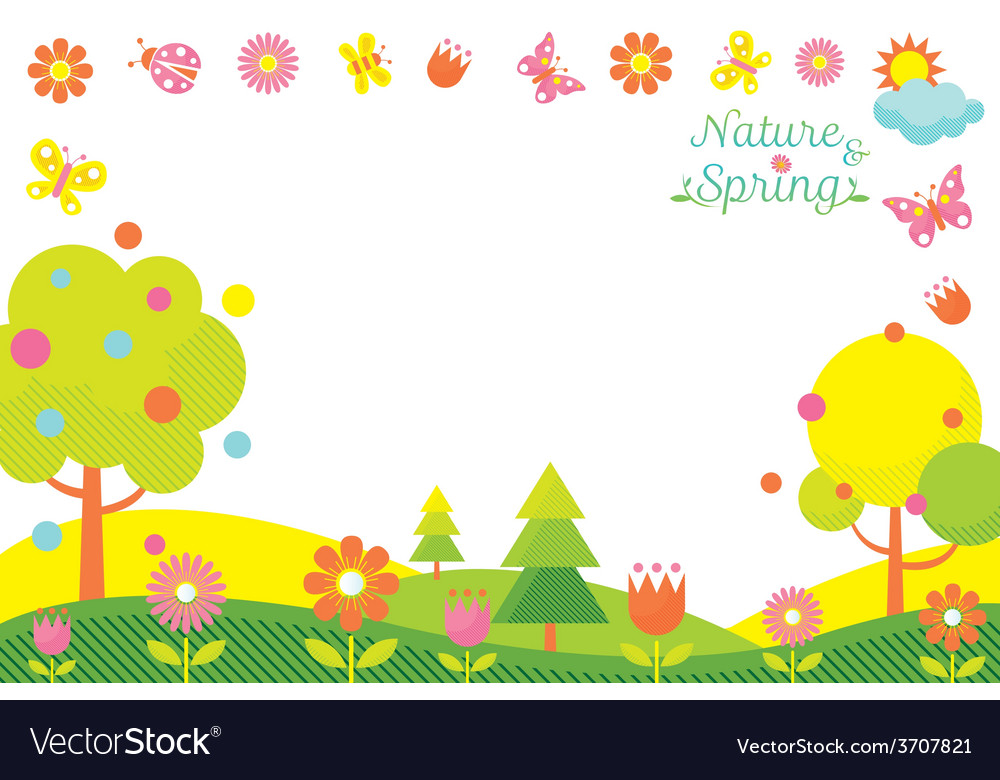 Spring season icons frame vector | Price: 1 Credit (USD $1)