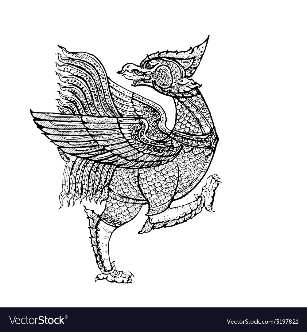 Thai tradition artnok thet bird vector | Price: 1 Credit (USD $1)