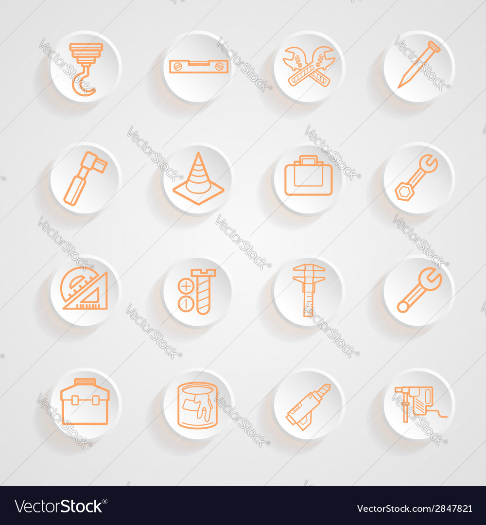 Tools functions menu icons set vector | Price: 1 Credit (USD $1)